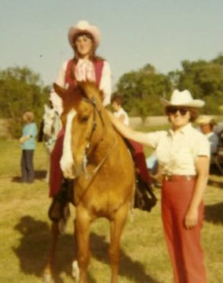 My Mom on her horse and my Grandma next to her
